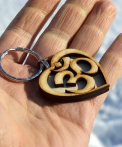 Om Heart Wooden Keychain 1