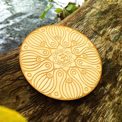 Om wooden coaster laser cut and engraved 3
