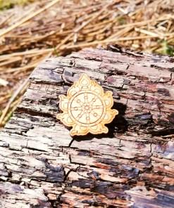 Sudarshana Chakra wooden Brooch 1