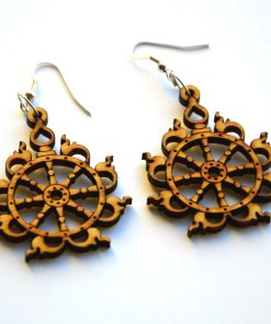 Sudarshana Chakra wooden earrings