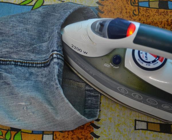 Заутюжка двойной подгибки джинсов