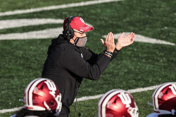 Indiana coach Tom Allen claps on the sideline