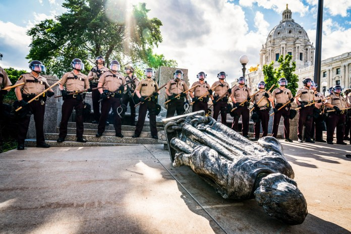 Protesters in St. Paul shot an 89-year-old Columbus statue two weeks after Floyd's death.