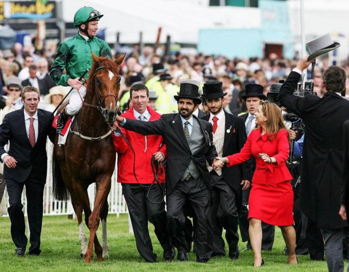 The sheikh—after his horse won the Epsom Derby, in England—is a key force across racing in the UK, where he's one of the largest private land owners.