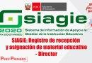 SIAGIE: Registro de recepción y asignación de material educativo – Director – VIDEO