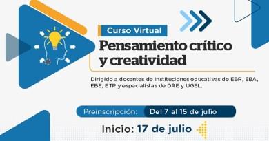 """PerúEduca.- Muy pronto iniciaremos preinscripciones para el curso virtual """"Pensamiento Crítico y Creatividad"""""""