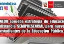 MINEDU aprueba estrategia de educación a distancia SEMIPRESENCIAL para nuevos estudiantes de la Educación Pública.