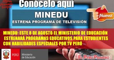 Minedu estrenará nuevo programa educativo dirigido a estudiantes con habilidades especiales a partir del 8 de agosto por TV PERÚ[Entérate aquí]