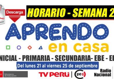 APRENDO EN CASA SEMANA 25:Descarga la PROGRAMACIÓN (Horario Radio y TV) de la SEMANA 25 [Del 21 al 25 de setiembre de 2020]