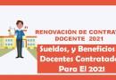 MINEDU – Sueldos, Bonificaciones Y Beneficios A Docentes Contratados Para El 2021