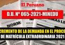 INCREMENTO DE LA DEMANDA en el PROCESO DE MATRÍCULA EXTRAORDINARIA 2021 [D.U. N° 056-2021-MINEDU]