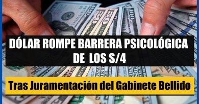 ATENCIÓN: Dólar rompe barrera psicológica delos S/4 tras Juramentación del Gabinete Bellido [Conócelo aquí]