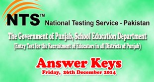 Educators NTS Test Answer Keys 26 Dec 2014