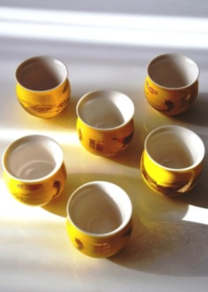 Teacup Set 'Golden Phonix', 6-piece, China bone, double-walled