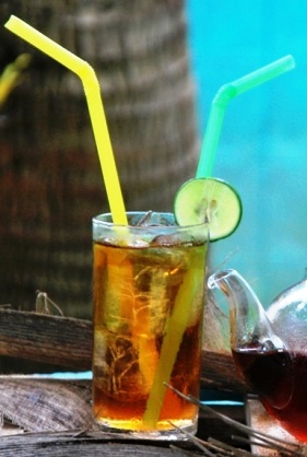 A glass of Coconut Black Ice Tea