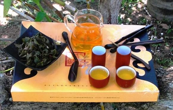 Monsoon Thai Oolong Tea Blend preparead and displayed as a hot tea