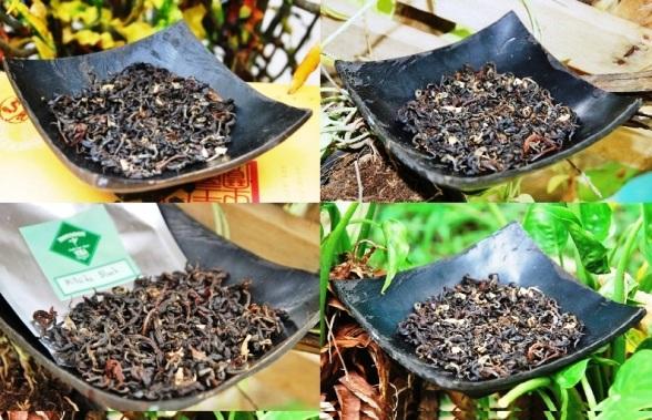 Hillside Blend Black Thai flavored tea blend, dry tea leaves, collage