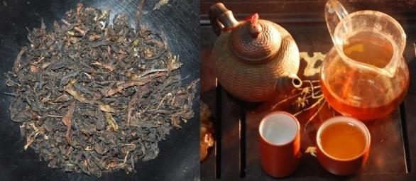 Banyan Da Hong Pao Oolong: dry tea leaves and prepared tea liquor