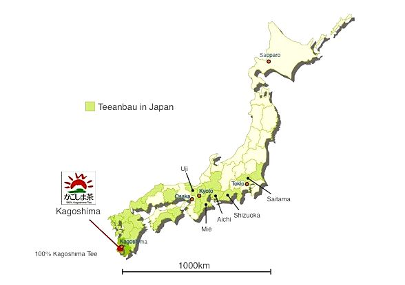 Map of Japanese tea cultivation regions: Kagoshimaja
