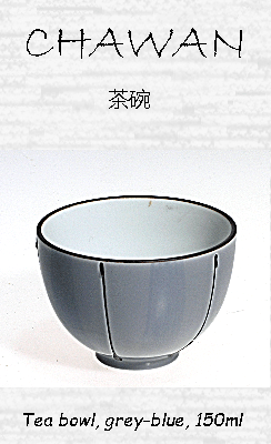 Japanese Tea Bowl, blue-grey, 150ml, ceramic