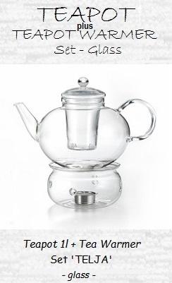 Glass Teapot with Warmer, Set 'Telja'; teapot 1.2l, teapot warmer Ø 13.5 cm x height 8.2 cm
