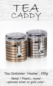 Tea Caddy 'Hasine', 150g, metal / plastic, round, platinum or copper design