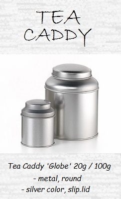 Tea Caddy Globe - metal, round, slip-lid
