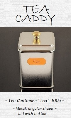 Tea Caddy 'Tea' 100g - metal, angular shape