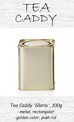 Tea Container 'Gloria' - metal, round, push-lid