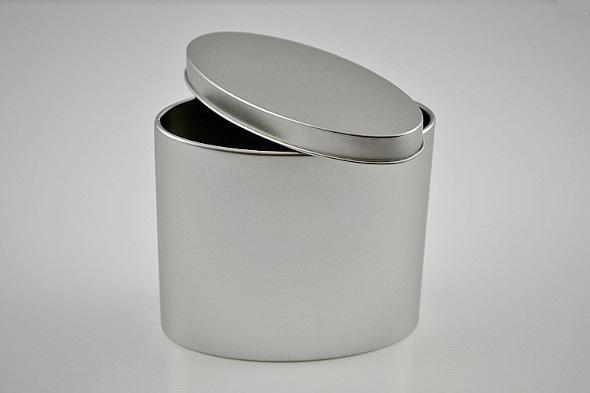 Tea Container 'Glory', oval shape, 125g - metal, faint silver