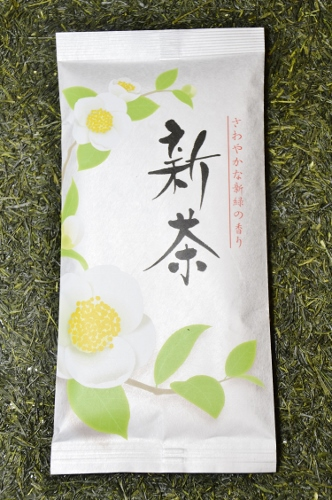 Sencha Gokujo / unshaded sprinf picking (April) Sencha tea with only young buds and leaves being picked from Kirishima, Kagoshima, Japan - decorative 100g bag