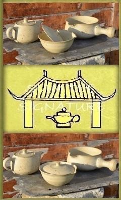 SiamTeas Signature Tea Pottery Ensemble, unglazed