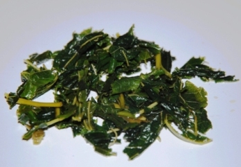 Nasse grüne Maulbeerblätter nach dem Aufguss als Teegetränk / Infusion / Kräutertee