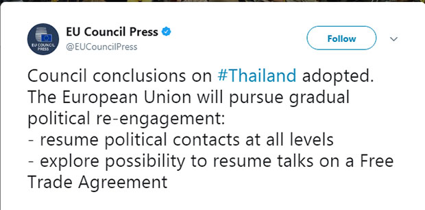 Eu to restore political contacts with Thailand