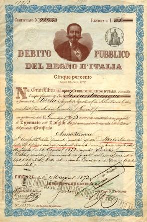 Certificato nominativo per l'annua rendita di 65 Lire. Firenze 6 maggio 1873.