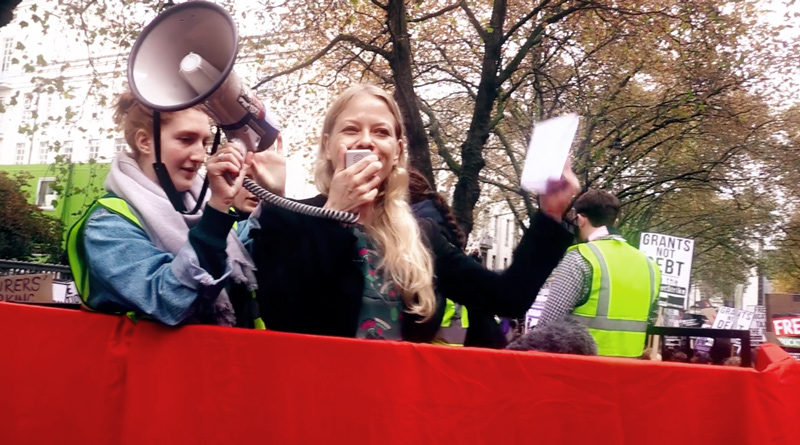Sian Berry speaking at the student demonstration on Nov 4