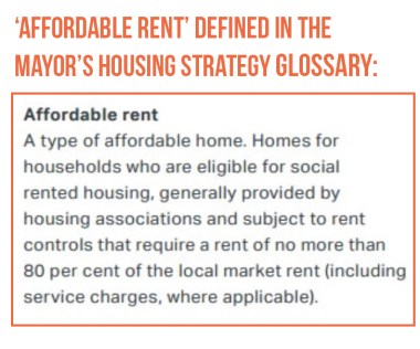 Affordable rent defined in the Mayor's Housing Stratgy glossary