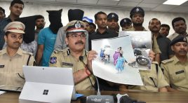 Mr.Anjani Kumar,IPS, Commissioner of Police, Hyderabad city addressing Media persons in connection with arrest of the three notorious interstate snatchers who committed(11) snatchings in two days in the month of December, in Rachakonda limits, were produce before media persons standing back side face covered at CP office in Basheerbagh in Hyderabad