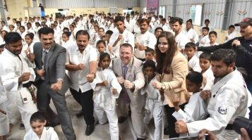 British Deputy High commissioner Andrew Fleming visited the TMREIS School at Musheerabad where young students demonstrated their Karate skills. Instructor and International Karate champion Syeda Falak, TMREIS secretary B.Shafiullah, Telangana government secretary Venu Gopal was also present. The British Dy. Commissioner appreciated the students and lauded India's progress and achievements in sports. He said India progress is education and sports on the global level is laudable.
