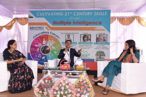 Managing Director Advantage Teacher Leadership and director Glendale and Springfield group of schools Mohtarma Anjum Babu Khan is addressing a gathering and poured light on her book 'Multiple Intelligence in 21st Century' at a seminar conducted at Bandlaguda.:Photo:Laeeq