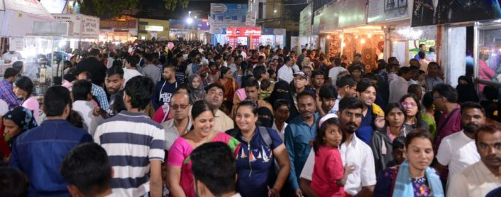 People thronged to 79th All India Industrial Exhibition on Sunday. Due to the metro link with far-off places, the crowd is increasing with every passing day.Photo:Laeeq