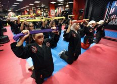 Kuwaiti girls use martial arts to counter bullies and violence. Photo: AFP
