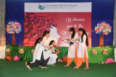 On the occasion of International Women's Day, a colourful programme was presented at Diamond Jubilee High School, Abids followed by a speech by Dr. Sujatha, principal of the school.:Photo:Laeeq