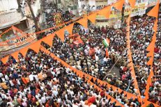 Thousands of devotees participating in the Sri Rama Navmi procession at Begum Bazar Chatri