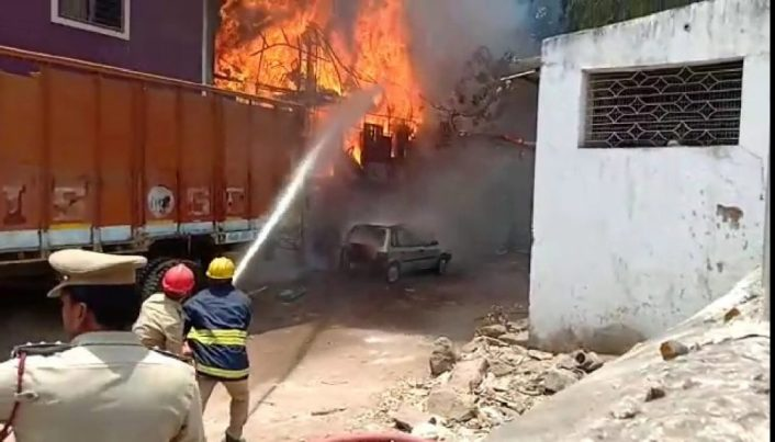A Fire accident at furniture godown near moazamjahi market in Hyderabad on Wednesday,no Causality reported.