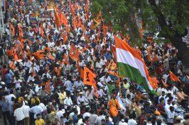Hanuman Jayanthi celebratons: Hanuman Shobha Yatra at RTC X Roads in hyderabad on Friday.