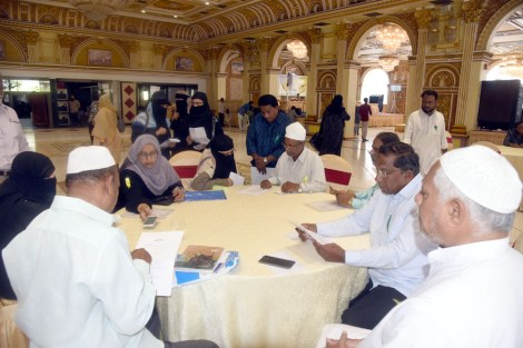 Siasat's Millat Fund organized 96th Du-ba-Du (Face-to-Face) Matrimonial Alliances on 21st April 2019 at Red Rose Palace, opposite Hajj House Nampally. Mr. Zahid Ali Khan, Editor of Siasat Urdu Daily, Mr. Zaheeruddin Ali Khan, Managing Editor, The Siasat Daily, Iftekar Shariff, Indo-American first dual citizen, Hayat Hussain Habib, TRS leader were the guests of honour. Mr. Syed Khalid Mohiuddin Asad, Coordinator Du Ba Du can also be seen. (Photo:Laeeq)