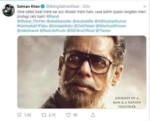 Heavily-bearded Salman Khan promises a colourful ride — Bharat First Poster