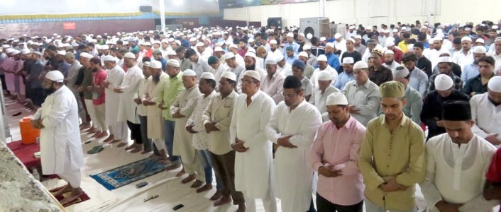 As the holy month of Ramzan has begun. The special Taraveeh namaz is offered at Darul-Aman Function Hall on Monday night.Photo:Laeeq