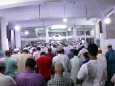 Mussallies offering Taraweeh prayers at Masjid-e-Jahara, Humayun Nagar during the Holy month of Ramadan in Hyderabad.. (Pics. Laeeq)